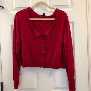 Torrid 2 Red Cropped Cardigan Sweater 2X